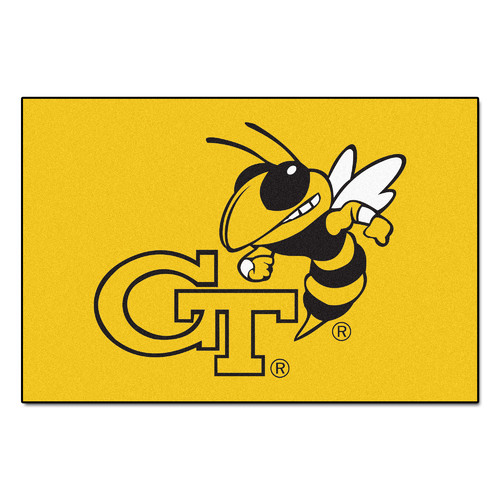 Rectangular Georgia Tech Area Rug w Yellow Jacket Emblem