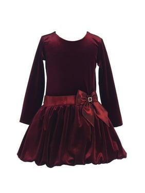 679e5338e38e Product Image Girls Burgundy Stretch Velvet Bow Bubble Occasion Dress 7-10. Sophias  Style