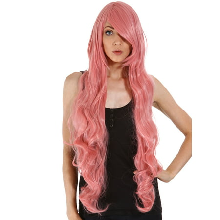 Charming Long Curly Halloween Pink Wig Full Hair Wigs for Women w/ Free Wig Cap (Wigs Party City)