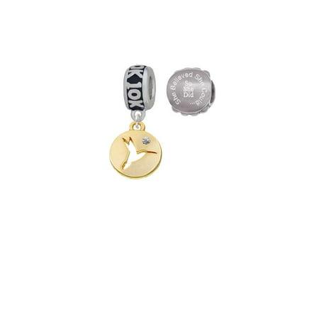 Disk Bead Set (Goldtone Hummingbird Disc 10K Run She Believed She Could Charm Beads (Set of 2) )