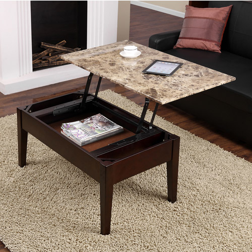 dorel living faux marble lift top coffee table - walmart