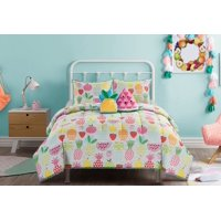 Heritage Club Kids Colorful Fruit Comforter & Sham Set w/ 2 Bonus Decorative Pillows