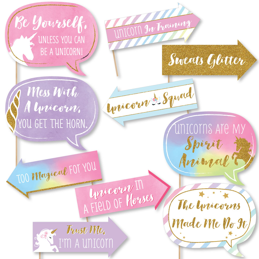 Funny Rainbow Unicorn - Magical Unicorn Baby Shower or Birthday Party Photo Booth Props Kit - 10 Piece