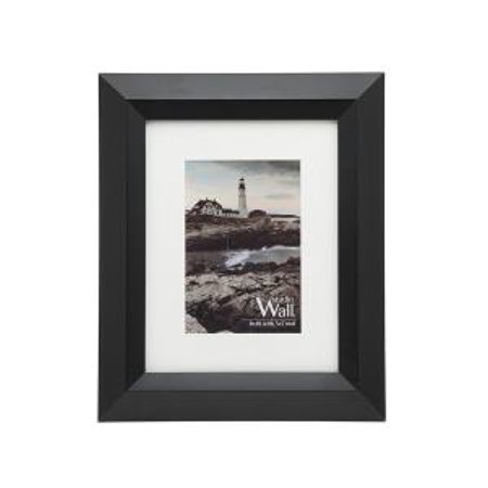 8x10/5x7 Montego Black Wooden Photo Frame with Mat Standing Horizontal or Vertical