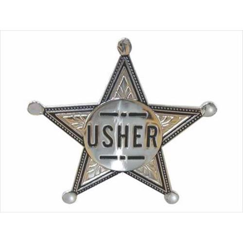 "Badge-Usher-Pin Back (2"" Silver Star)-Metal"
