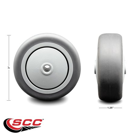 """3"""" x 1.25"""" Gray Thermoplastic Rubber Wheel Only with Precision Ball Bearing - 3/8"""" Bore - Non Marking/Non Marring - 170 lbs Capacity -  Service Caster Brand"""