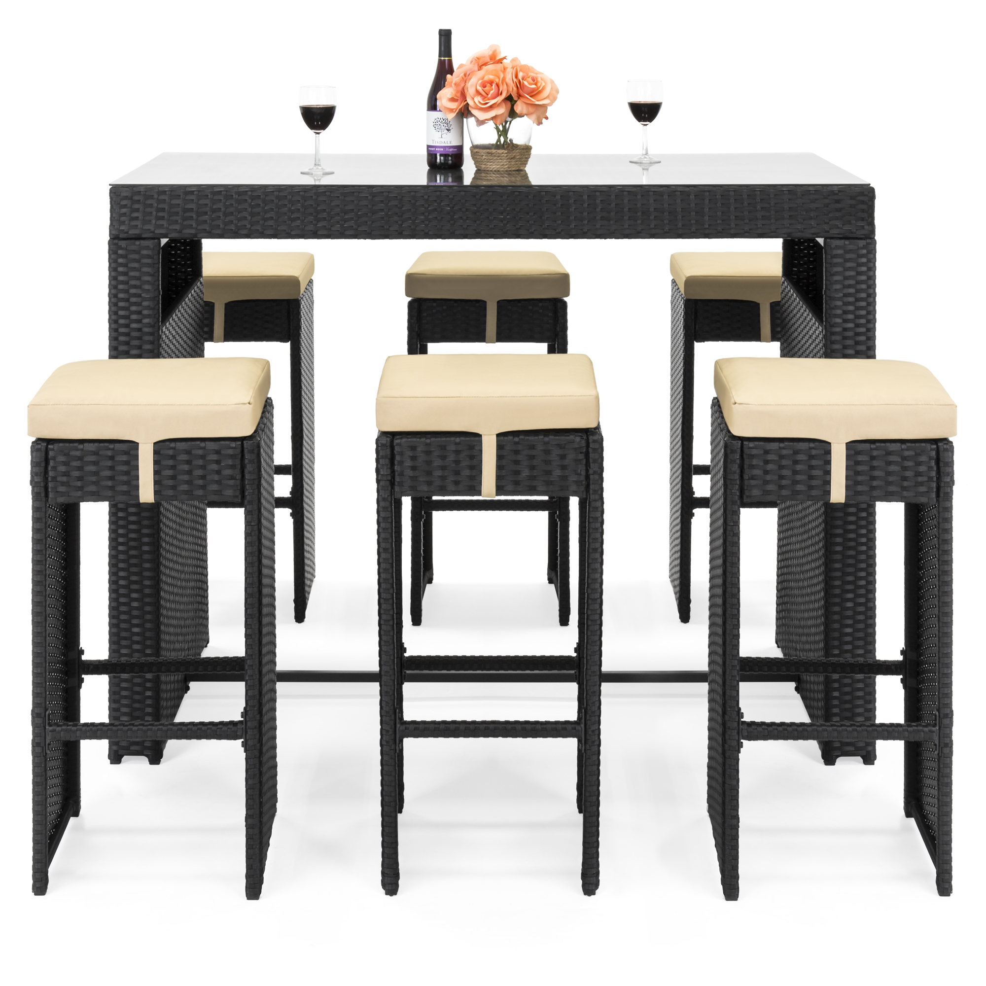 Best Choice Products 7 Piece Outdoor Rattan Wicker Bar Dining Patio Furniture Set W Gl Table Top 6 Stools Black