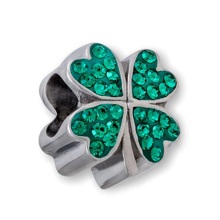 Stainless Steel Green Crystal Four Leaf Clover Charm