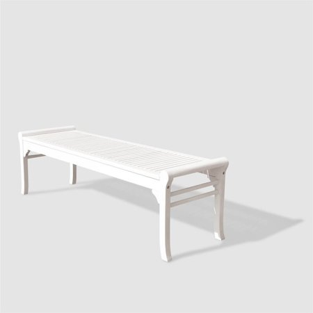 Remarkable Bradley Eco Friendly 5 Foot Backless Outdoor White Hardwood Garden Bench Ibusinesslaw Wood Chair Design Ideas Ibusinesslaworg