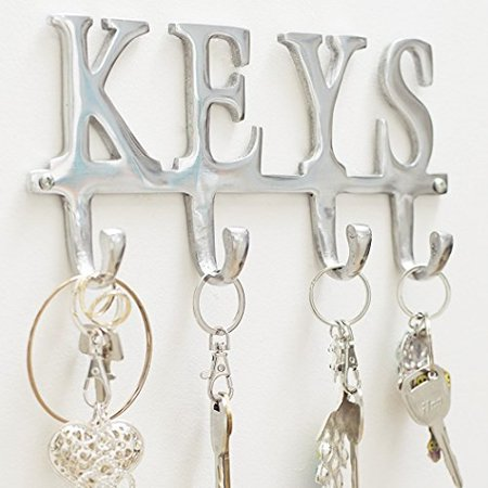 "Key Holder ""Keys†– Wall Mounted Key Holder - 4 Key Hooks Rack - Decorative Cast Aluminum Key Rack - Polished Finish - with Screws and Anchors - by Comfify (Keys AL-1507-20) ()"
