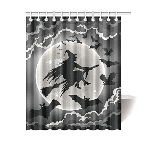 GCKG Witch Silhouette Flying With Bats Shower Curtain Unique Halloween Design Polyester Fabric Bathroom Sets 60x72 Inches