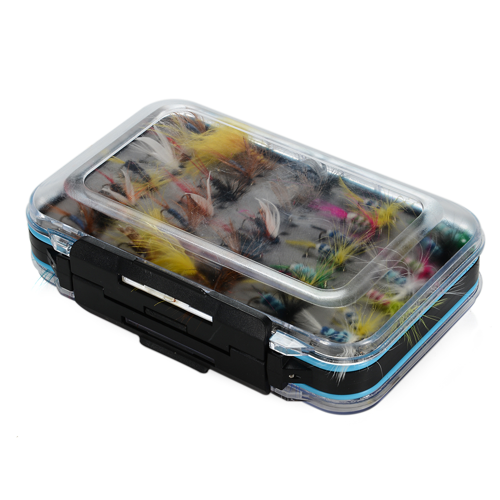 Fly Fishing Flies Kit- 64pcs Handmade Fly Fishing Lures-Dry Wet Flies,Streamer, Nymph, Emerger with Waterproof Fly Box by