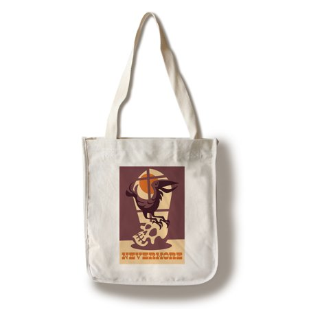 Raven Nevermore - Retro Halloween - Lantern Press Artwork (100% Cotton Tote Bag - Reusable) - Garage Halloween
