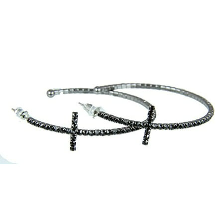 - Rhinestone Cross Hoop Earrings Flexible Petite Christian