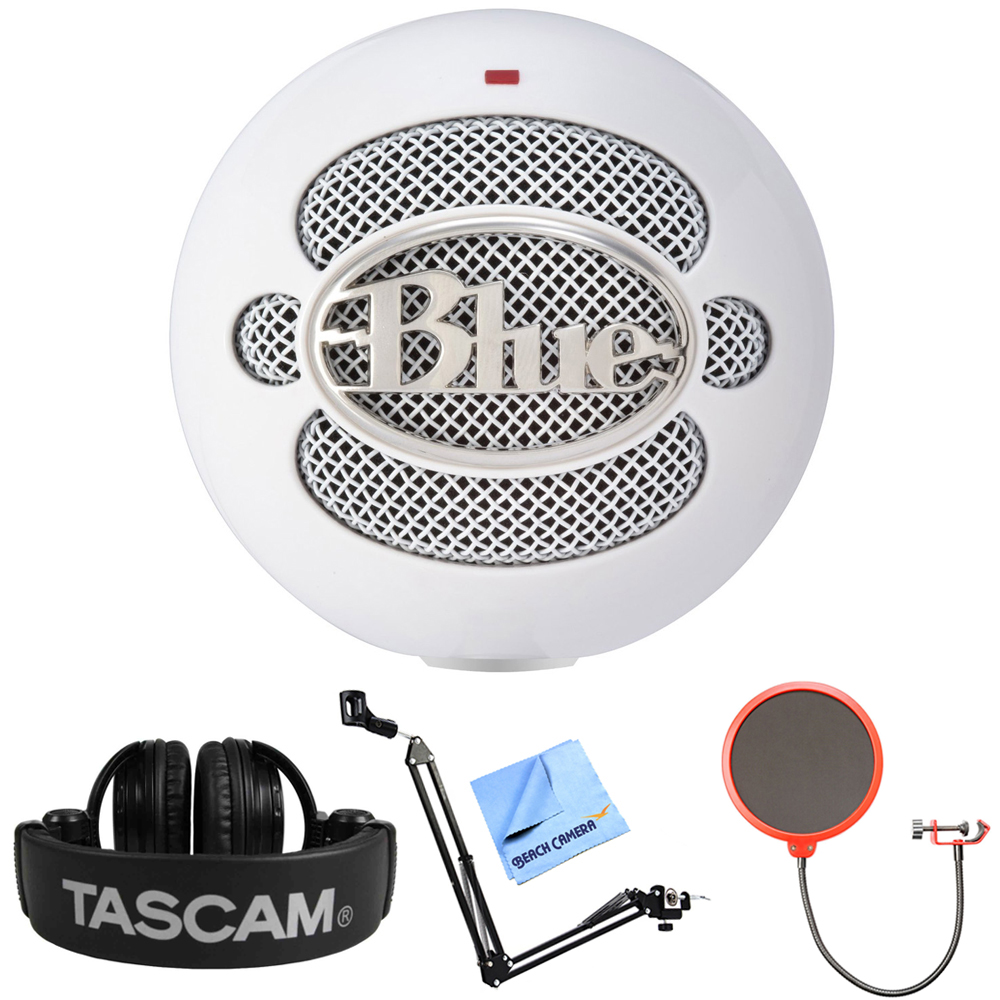Blue Microphones Snowball iCE Versatile USB Microphone - White (SNOWBALL iCE) + Tascam Closed-Back Headphones + Suspension Boom Scissor Arm Stand + Pop Filter Microphone Wind Screen + More