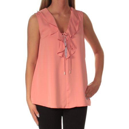 L'ACADEMIE Womens Pink Ruffled Tie Sleeveless V Neck Top  Size: S