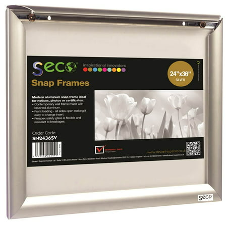 SECO Front Load Easy Open Snap Poster/Picture Frame 24 x 36 Inches, Silver Anodized Aluminum Frame (SN2436) Aluminum Frame Resin