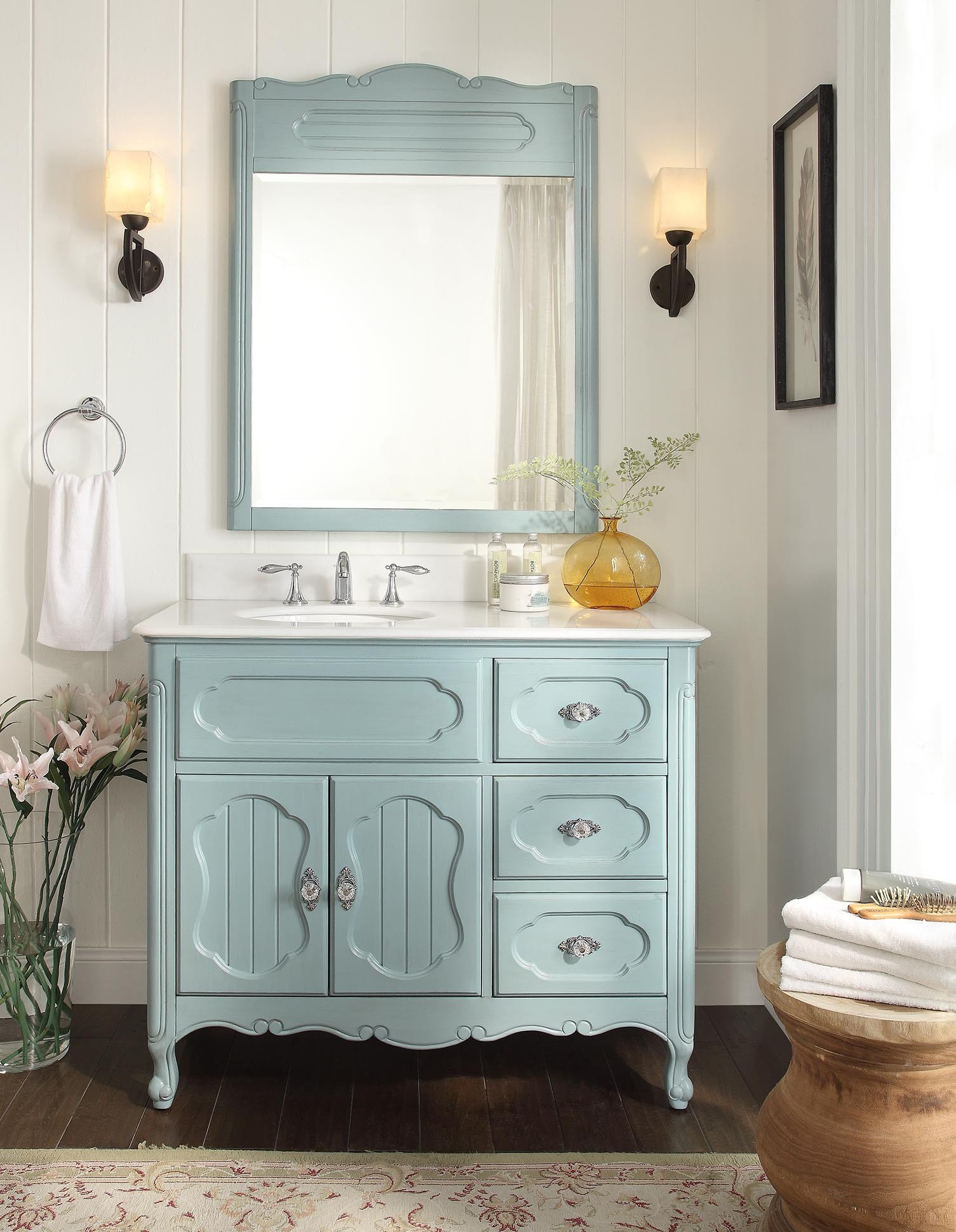 42 Benton Collection Knoxville Vintage Blue Victorian Shabby Chic Bathroom Vanity With Mirror Gd 1509bu 42 Bs Mir Walmart Com Walmart Com