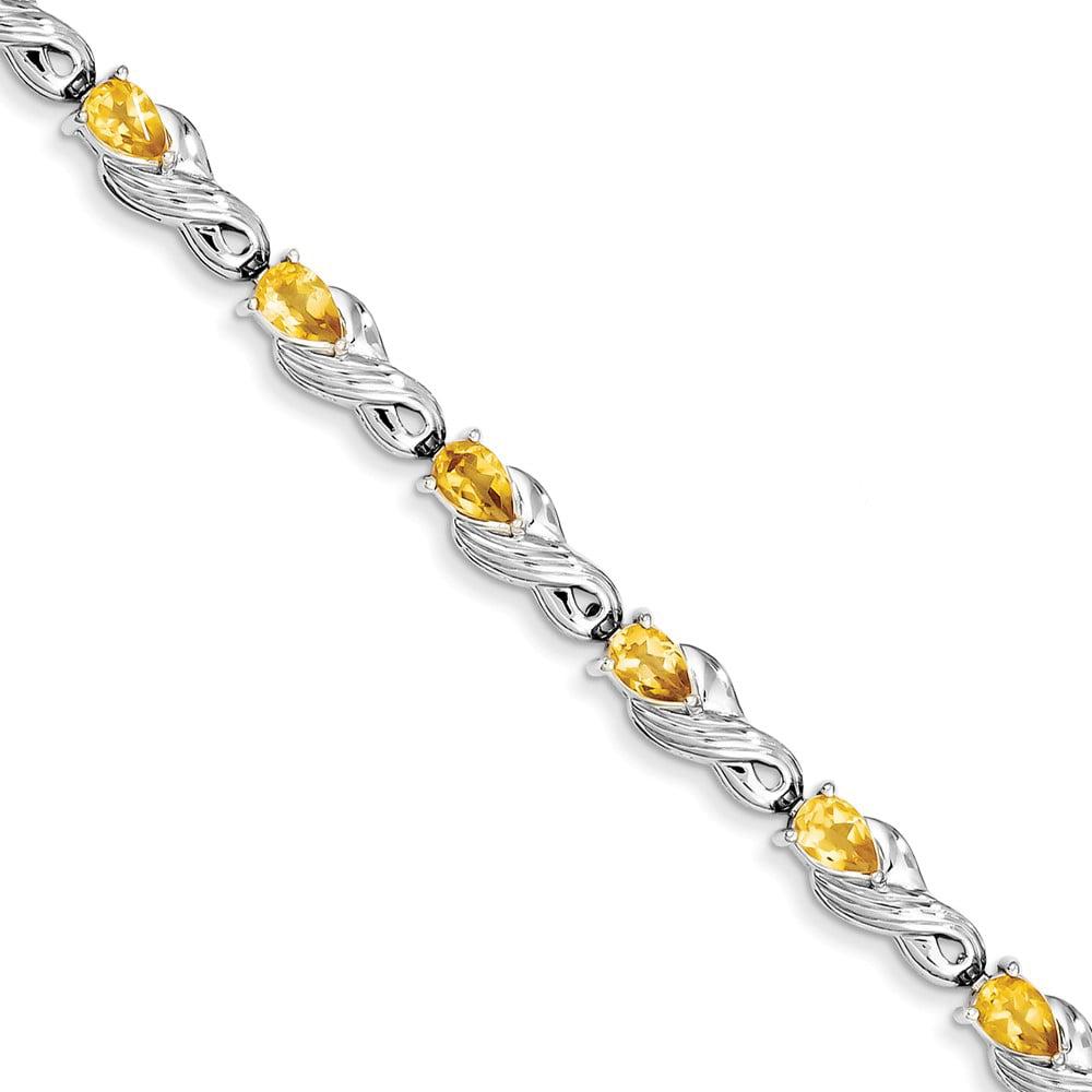 Sterling Silver Citrine Bracelet. Gem Wt- 3.5ct