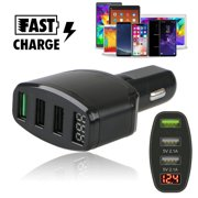 3-Port USB 4.2A Quick Car Charger Adapter LED Display Fast Charging for Cell Phone iPhone 11/11 Pro X 8 7 6S 6 Plus, Samsung Galaxy Note 8 S8 S7 S6