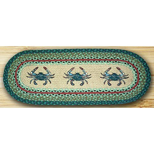 Earth Rugs 64-359 Oval Braided Printed Table Runner, 13-Inch by 48-Inch, Blue Crab