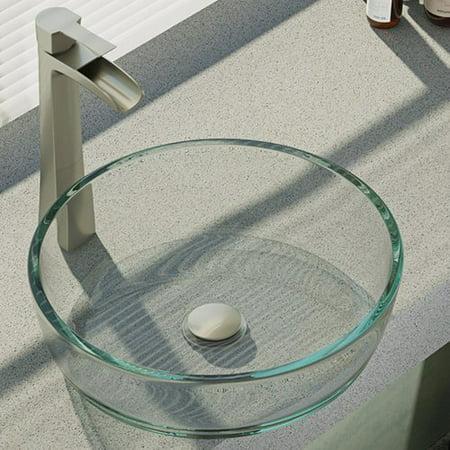 Ren  Crystal Glass Circular Vessel Bathroom Sink with Faucet