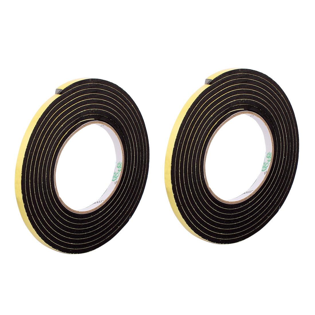 2pcs Black 0.6CM Wide 4M Length 3MM Thick Single Sided Shockproof Sponge Tape