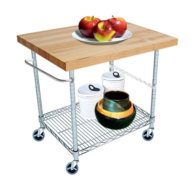"2 Tier Gourmet Cart with 20"" Deep x 34"" Wide Maple Butcher Block Top by Omega Products Corp."