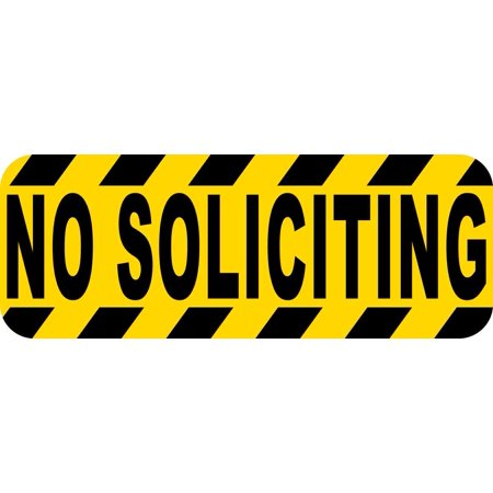 8in x 3in no soliciting sticker vinyl caution sign business decal stickers