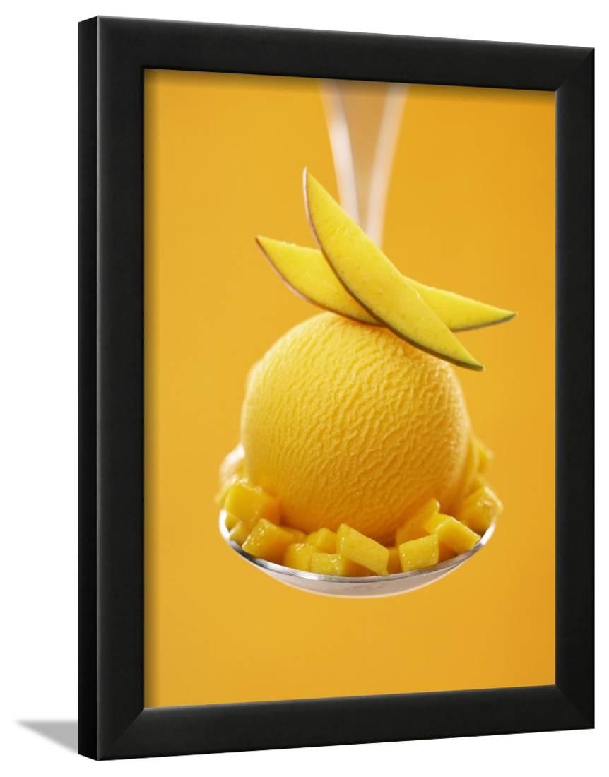 Mango Sorbet with Fresh Fruit on a Spoon Framed Print Wall Art By ...