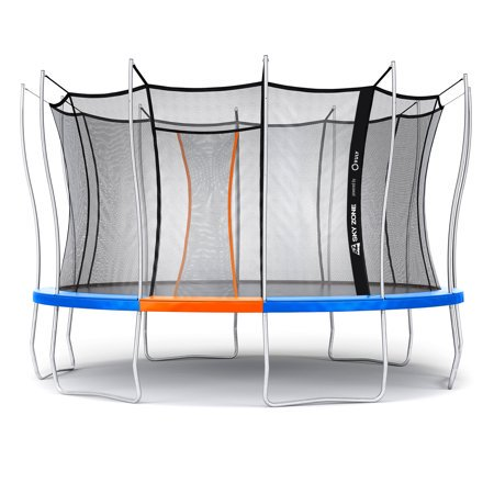 Official Sky Zone x Vuly 14-Foot Trampoline, Self-Closing Door, (Best Trampoline For 3 Year Old)