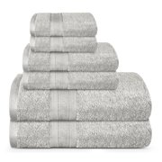TRIDENT Feather Touch, 100% Cotton, Highly Absorbent, Bathroom Towels, Super Soft, 6 Piece Towel Set (2 Bath Towels, 2 Hand Towels, 2 Washcloths), 500 GSM, Silver Grey