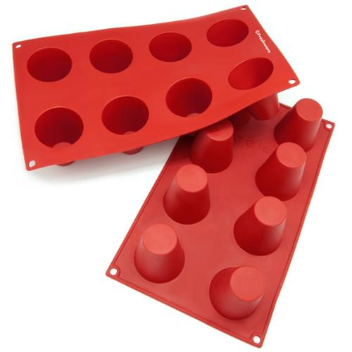Freshware  8-cavity Cylinder Pudding Silicone Mold/ Baking Pans (Pack of 2)