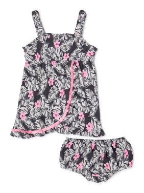 Wonder Nation Baby Girls Floral Wrap Dress & Diaper Cover