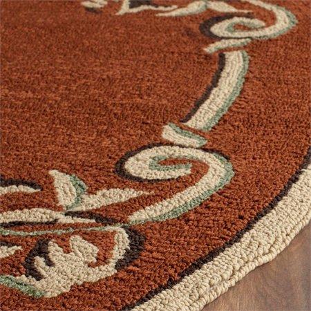 "Safavieh DuraRug 2'6"" X 10' Hand Hooked Polypropylene Rug in Rust - image 2 de 9"