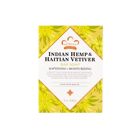 (2 pack) Nubian Heritage Indian Hemp And Haitian Vetiver Bar Soap - 5