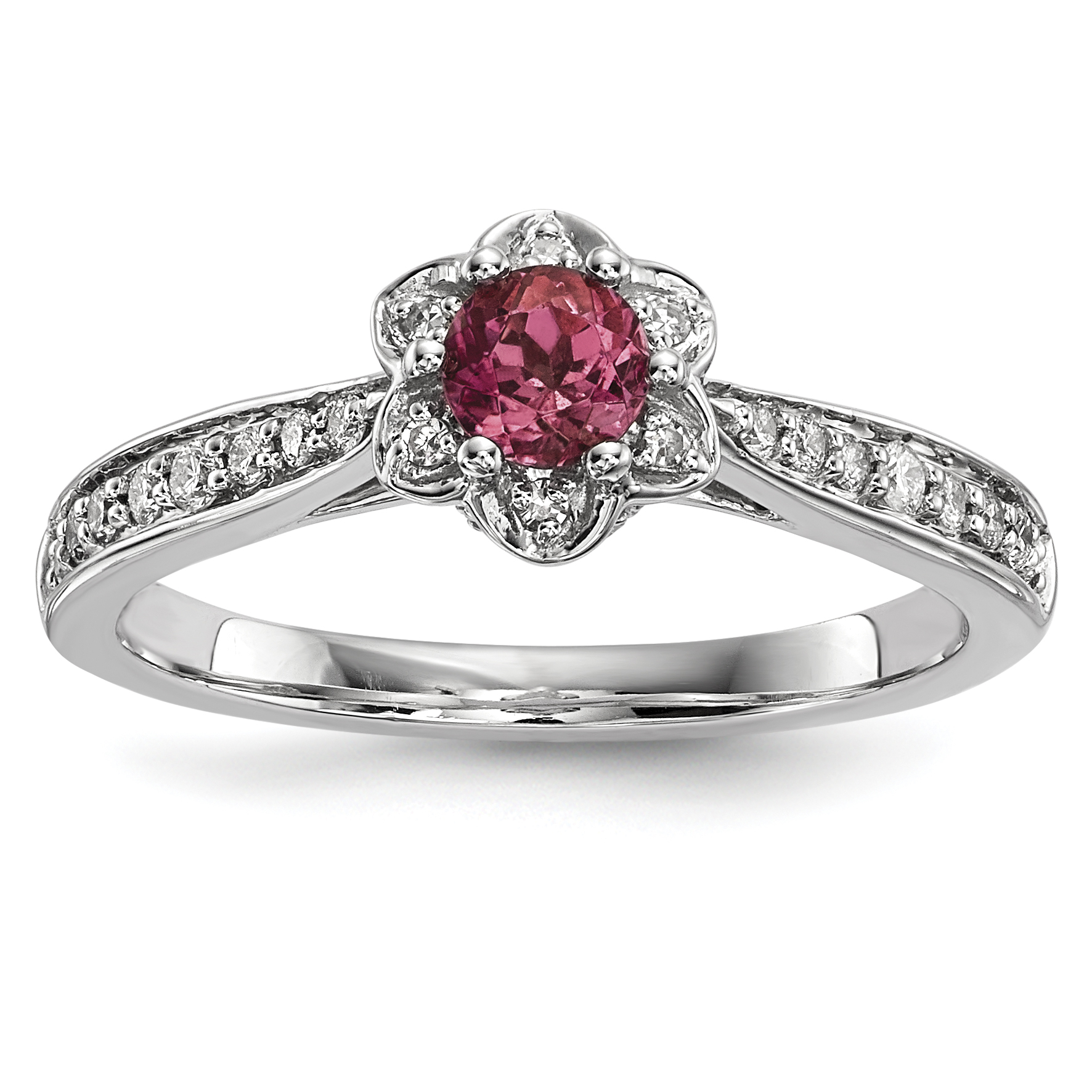 14k White Gold Diamond & Pink Tourmaline Ring Size by