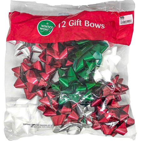 Berwick Offray Elegant Holiday Holographic Peel N Stick, Christmas Ribbon Bows(1 Packages; 12 Bows Total)