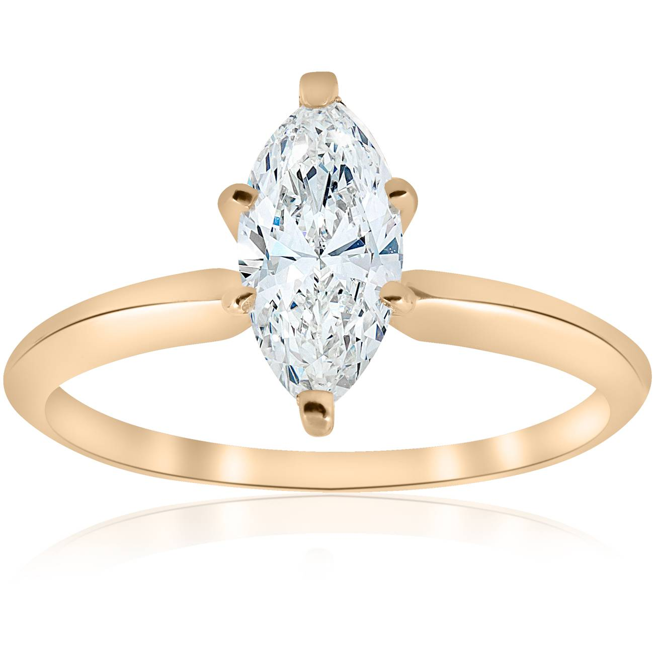 14 kt Yellow Gold 1 ct Marquise Enhanced Diamond Engagement Solitaire Ring by Pompeii3