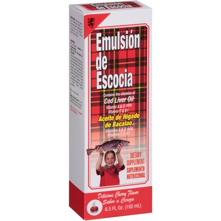 Emulsion De Escocia Cherry Flavor Cod Liver Oil Dietary Supplement  6 5 Fl Oz