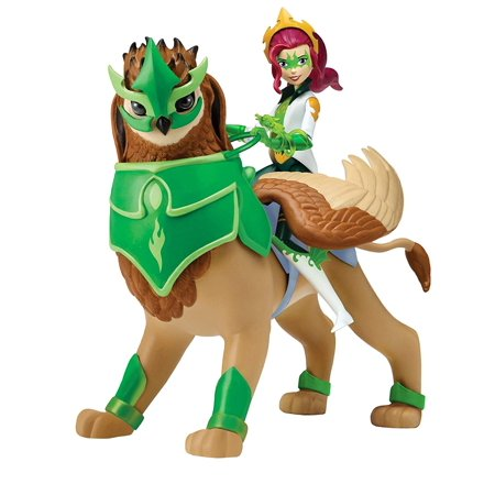 Izzie & Arkayna Action Figure, Arkayna, Mysticon Dragon Mage figure with Dragon Staff rides her Royal Griffin, Izzie. By Mysticons ()