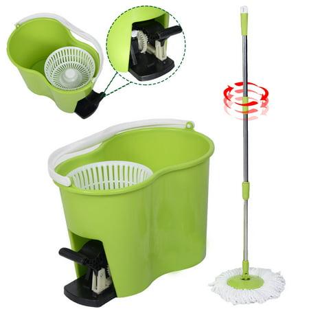 Costway Microfiber Spinning Mop Easy Floor Mop W Bucket 2 Heads 360 Rotating Head Green
