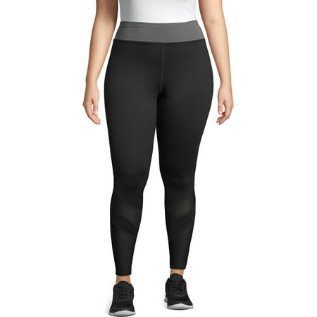 Just My Size Women's Plus Active Pieced Mesh Run Tight