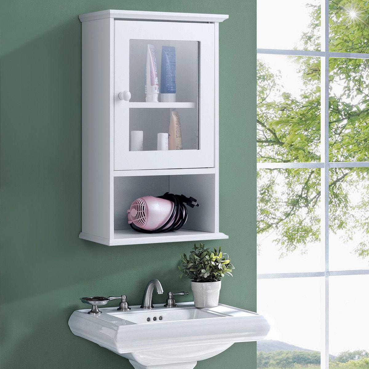 Gymax Wall Mounted Bathroom Cabinet Storage Organize Hanging Medicine Adjustable Shelf