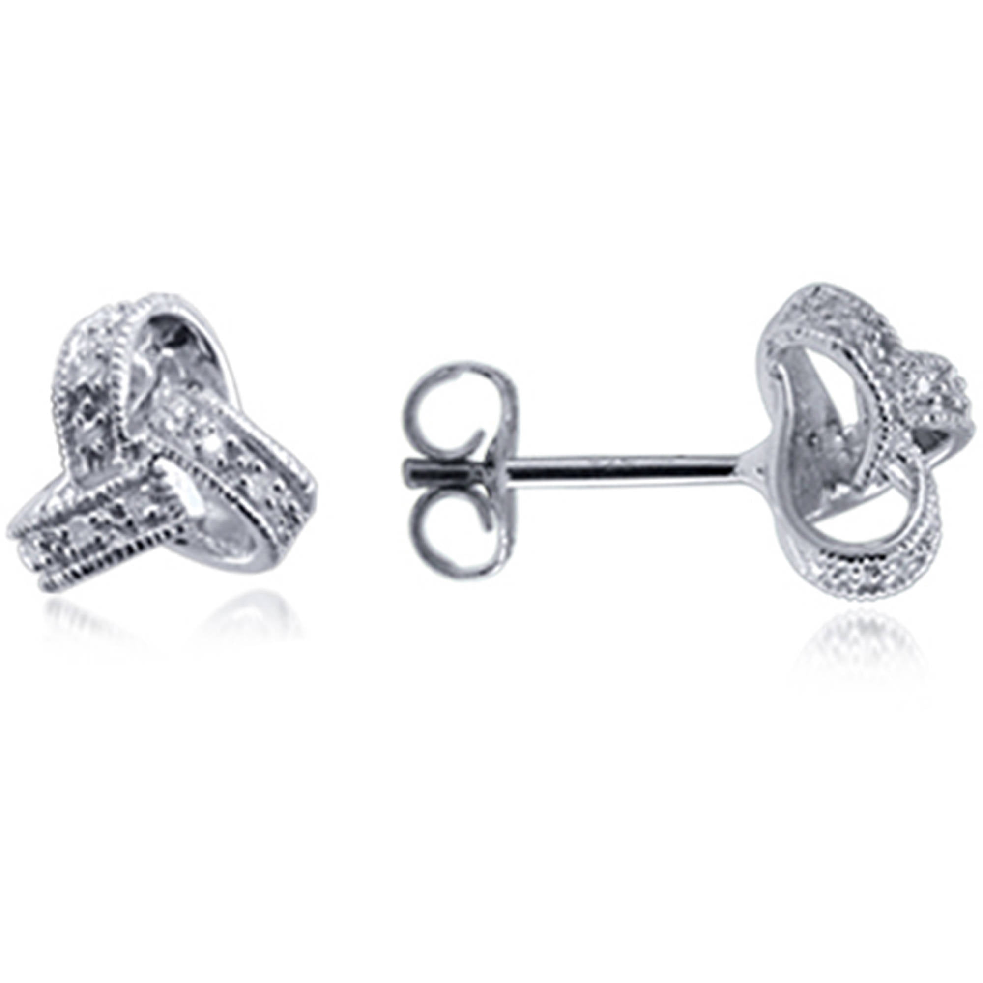 tone pin two diamond earrings dangle silver accent twist db designs
