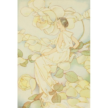 Dream Roses 1897 Woman In Pale Yellow Poster Print By  Laura C Hills
