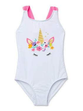 XOXO Girls Unicorn Crossback One-Piece Swimsuit, Sizes 4-16