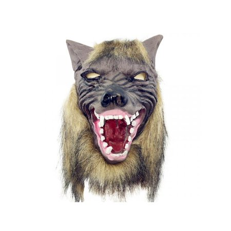 Rubber Face Masks Halloween (Topumt Wolf Head Halloween Full Face Mask Horror Masquerade Props)