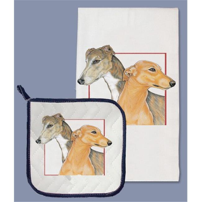 Pipsqueak Productions DP972 Greyhound Dish Towel And Pot Holder Set