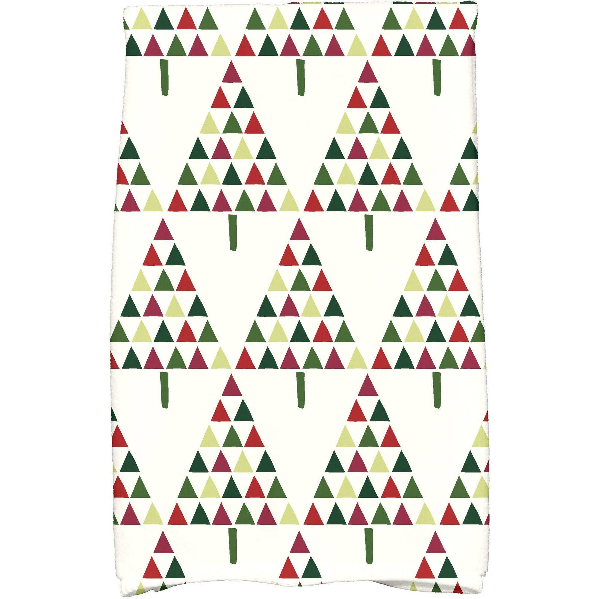 "Simply Daisy 16"" x 25"" Triangle Trees 2 Holiday Geometric Print Kitchen Towel"